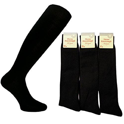 Star Socks Germany 6 Paar Damen Kniestrümpfe aus Baumwolle Thermo Schwarz Größe 39-42