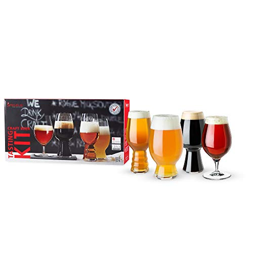 Spiegelau Craft Beer Tasting Kit Glasses, Set of 4, European-Made Lead-Free Crystal, Modern Beer Glasses, Dishwasher Safe, Professional Quality Tasting Glass Gift Set, Clear, 4991697