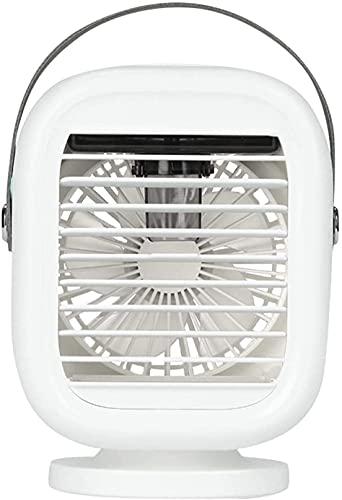 Mini enfriador de aire portátil 4 en 1 Miniaire acondicionado evaporador humidificador purificador de aire ventilador ventilador de escritorio USB con 7 colores LED 3 velocidades de viento