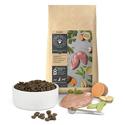 Hundefutter trocken 6 kg | Premium-Qualität von Pets Deli | Huhn mit Süßkartoffel und Kräuter | Trockenfutter für Hunde mit 55% Fleischanteil, getreidefrei und ohne unnötige Zusätze