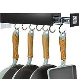 SOLEJAZZ Soporte para macetas Bar Rack Percha para utensilios de cocina con 7 ganchos ajustables, despensa extraíble y organización de armario, negro