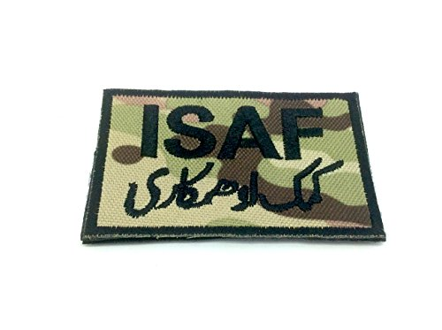 ISAF International Security Assistance Force Bestickt Airsoft Klett-Patch (Multicam)