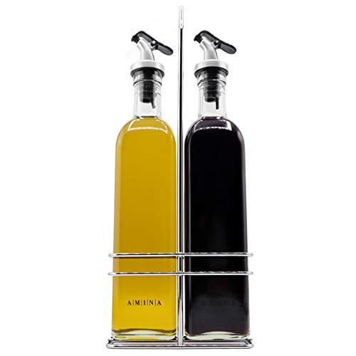 A|M|I|N|A Set Dispenser per aceto e Olio - Tosacana (500 ml) 3 Pezzi, 2 Bottiglie d'olio e Supporto | a Tenuta stagna e Senza gocciolamento | con Tappo Anti-sgocciolamento
