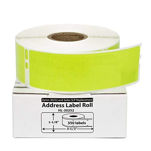 """HOUSELABELS Compatible DYMO 30252 Green Address Labels (1-1/8"""" x 3-1/2"""") Compatible with Rollo, DYMO LW Printers, 1 Roll / 350 Labels per Roll"""
