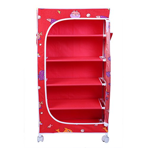 Little One's 5 Shelves Foldable Wardrobe/Toy Box (56 cm X 31 cm X 115 cm, Aquatic Red)