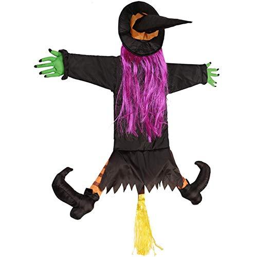 Cracklight Brujas de Halloween al Aire Libre Bruja chocando contra el árbol Horror Decoración de Halloween Decoración de Brujas Árbol Colgante Muñeca Interesante para Fiesta en el jardín del Patio