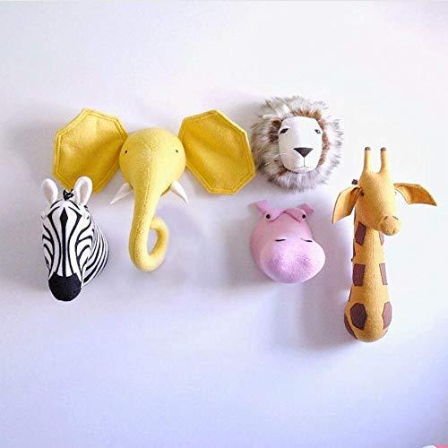 pegtopone Tierkopf Wand, Tier Wandhalterung, Kunstkopf Wand Dekor,Tierkopf Zum Aufhängen, Stofftier Kopf Als Wand-Dekoration, Für Kinderzimmer Kindergarten Dekorative Ornamente