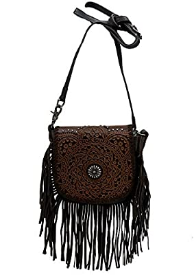 Montana West Genuine Leather Tooled Crossbody Purse For Women Western Handbag Cowgirl Shoulder Bag