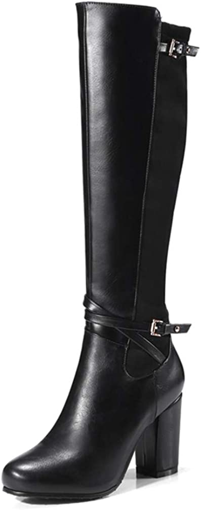 CYBLING Women Stretch Back Knee High Boots Buckle Straps Chunky High Heel Winter Warm Riding Boots