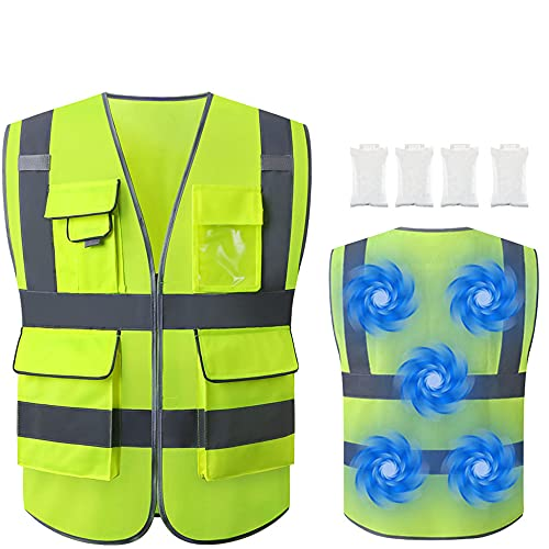Tekware Reflective Safety Vest, High Visibility Construction Vests with 4 Cooling Ice Bags, Ideal...