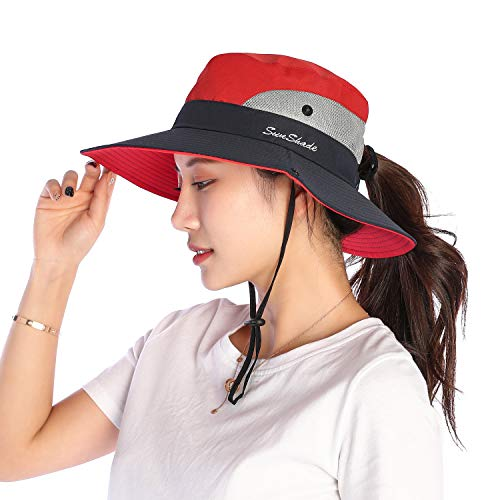 VICSPORT Sonnenhut Damen UV Schutz Hut Faltbar Wanderhut Gartenhut Boonie Fischerhut