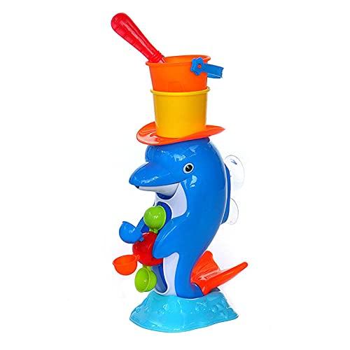 WULOVEMI Giocattoli da Spiaggia per Bambini, Giocattoli da Spiaggia per Toddlers Set a Forma di Dolphin a Forma di Dolphin Include Giocattolo del Delfino, Cucchiaio, Secchio