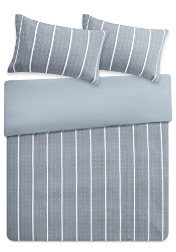 Eben Reversible Printed Duvet Cover Set Single Size - Grey & White Neatly Striped Motifs Design - 2 Pics Ultra Soft Hypoallergenic Microfiber Quilt Cover Sets
