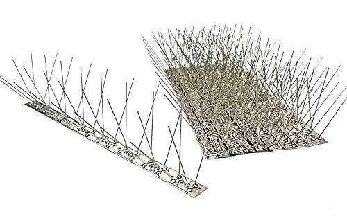 10 Stück (5 m) Taubenspikes 4 reihig auf 50 cm Edelstahlleiste, Taubenabwehr, Vogelabwehr - DIREKT VOM HERSTELLER