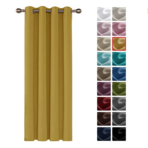 Deconovo Blackout Curtain Material Room Darkening Curtain Thermal Insulated Eyelet Curtain for Bedroom 52'x 63' Mustard 1 PANEL