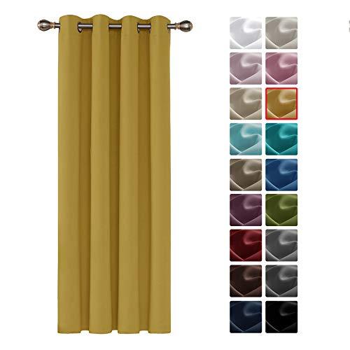 Deconovo Cortinas Salón Modernas Aislante Térmica Moderno Elegante para Ventanas con Ollaos 1 Pieza 132 x 242 cm Amarillo Terroso