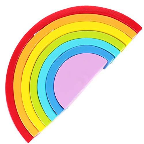 FOY Rainbow Stacking Toy Bloques de construcción de Madera Que anidan Juguetes de educación temprana Multicolor