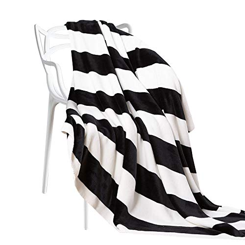 NTBAY Flannel Twin Blankets Super Soft with Black and White Stripe (68