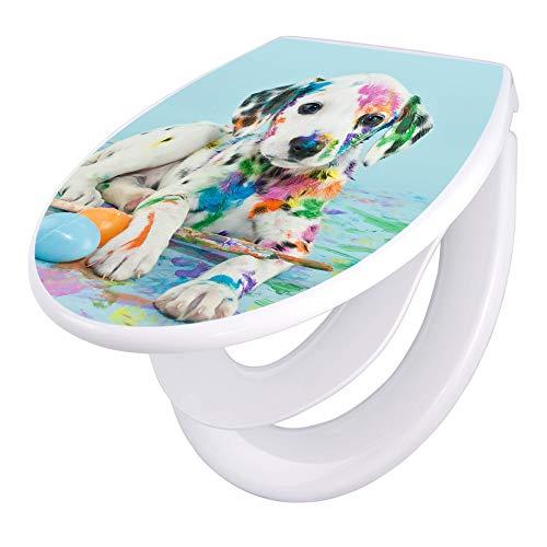 banjado Familien WC Sitz mit Absenkautomatik | Toilettendeckel mit Kindersitz | Klodeckel weiß | Toilettensitz mit Soft Close | 44 x 37 cm WC Deckel mit Motiv Bunter Dalmatiner