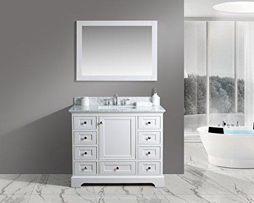 "Urban Furnishing - Jocelyn 42-Inch (42"") Bathroom Sink Vanity Set with White Italian Carrara Marble Top - White"