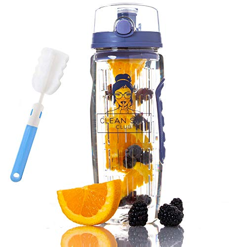 Clean Skin Club Water Bottle Infuser | Flip Top Lid | Dual Anti-Slip Grips | BPA Free | Fruit Infuser Water Bottle, Free Recipes and Cleaning Brush Gifts (Berry Blue, 3 Pack (Best Value!))