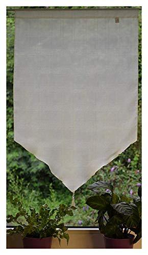 LOOPS vitrage in driehoekige vorm met kwast raambehang bistrogordijn raam- en deurbehang deurpanneaux semi-transparant B 60 x H 90 cm lichtgeel
