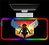 マウスパッド タイタンへのアニメ攻撃大型RGBマウスパッドLEDロングビッグゲーミングキーボードマウスマットコンピューターラップトップゲーマー用拡張PCデスクマット、滑らかな表面速度800X400X4Mm Xl