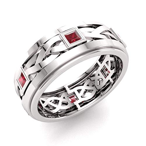 Diamondere Natural and Certified Princess Cut Ruby Wedding Band Ring in 14k White Gold   0.60 Carat Celtic Knot Ring for Mens, US Size 8