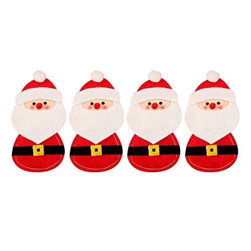 Holibanna 4 Pezzi di argenteria Natalizia Porta Decorazioni Festa di Babbo Natale