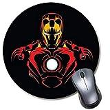 Alfombrilla de ratón redonda para videojuegos, alfombrilla de ratón para ordenador portátil y escritorio, linda alfombrilla divertida para niños y regalo de oficina (Cool Superhero Iron Man)