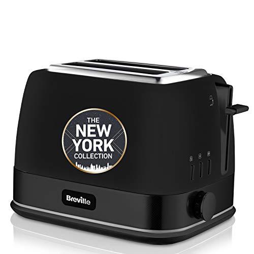 Breville VTT946X - Tostador de 2 rebanadas con bandeja para calentar bollería, colección NewYork, color negro