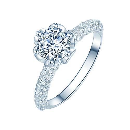 Daesar Anillos de Oro Blanco Mujer 18 K,Anillos Plata Mujer Flor con 6 Garras Diamante Blanco 0.18ct Anillo Talla 12