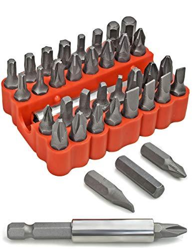 FUXXER® - 33 tlg. Standard Bit-Set, Kreuz-Schlitz, Torx, Sechskant, Schlitz, Imbus, Kreuz-Schlitz, Schraub-Bits, mit Bit-Halter, magnetisch in Box, 33er Set