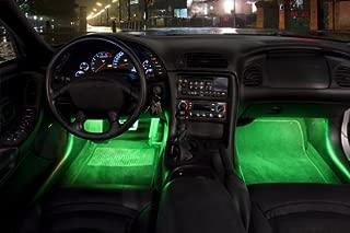 2 Piece Interior Footwell Trunk Light Strips Under Dash Kit (Green)