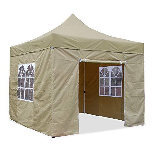 JOM Falt-Pavillon, 3 x 3 m, beige, Profi Ausführung, Material Oxford 420 D, wasserdicht, 4 Seitenwände, Befestigung Seitenwände mit Reißverschluß 2020