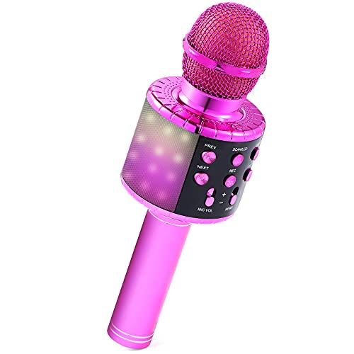 Micrófono Karaoke, Micrófono Bluetooth Inalámbrico para Niños Juguetes Niña 3 4 5 6 7 8 9 Años Regalo Niña 3 4 5 6 7 8 9 10 Años Micrófono Portátil con Altavoz Juguetes Niños 3 4 5 6 7 10 11 12 Años