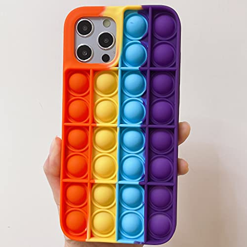 Blaspins [Extra Soft] Pop It Case for iPhone 12 Pro Max,Cute Silicone Fun Cartoon Girl Kid Boy Teen Cool Push Pop Bubble Wrap Fidget Toy Anxiety Calm Stress Cover Shockproof (6.7 inch)12promax- Orange