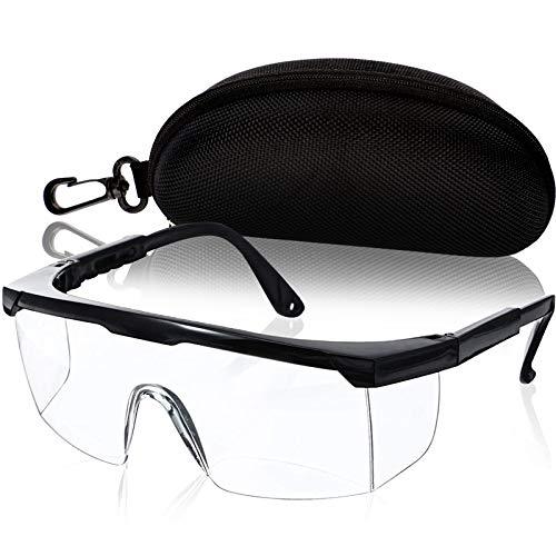 Schutzbrille, 400 UV-Schutz Schutzbrille für brillenträger, Unisex Anti Nebel Klar Augenschutz Brille Mit Hartschalenkoffer, Fahrradbrille Wind und Sand Seitenschutz Schutzbrillen Arbeit(schwarz)
