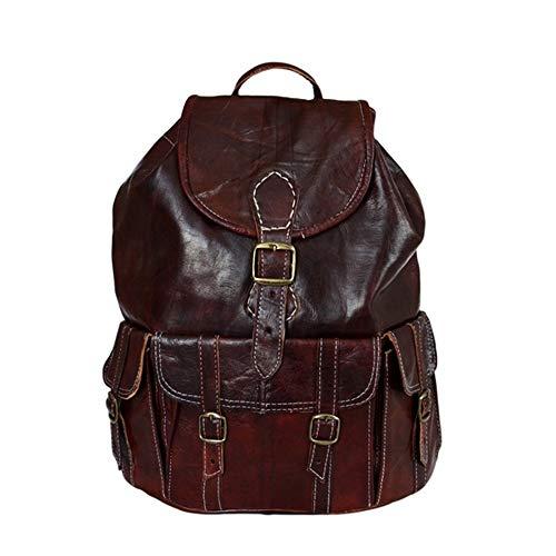 Ziegenleder Rucksack Travel Bag Umhängetasche Leder-Tasche Vintage Dunkelbraun NEU!