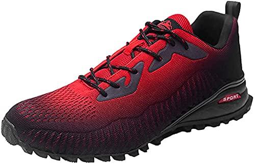 Zapatillas de senderismo para hombre de esquí de fondo para senderismo y senderismo deportivas, ligeras, transpirables, para caminar al aire libre, color Rojo, talla 43.5 EU