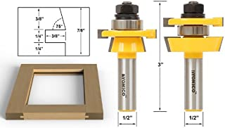 Yonico 12249 Shaker 2 Bit Rail and Stile Router Bit Set 1/2-Inch Shank