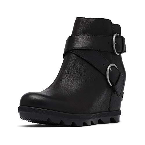 Sorel Women's Joan of Arctic Wedge II Buckle Boot - Light Rain - Waterproof - Black - Size 7
