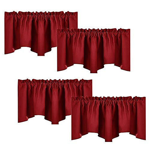 NICETOWN Burgundy Red Blackout Valances - Thermal Insulated Elegant W52 x L18 Scalloped Rod Pocket Curtains for Small Window Decor, Assorted Color, 2 Pairs