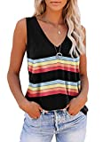 ETCYY Women Striped Sleeveless V Neck Tank Tops Workout Shirts Casual Summer Loose Fit Sports Athletic Yoga T Shirts