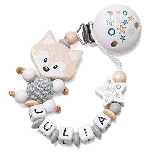 Schnullerkette mit Namen für Babys - Mädchen und Jungen - Viele Modelle und Farben (3D Fuchs, Stern, Grau)