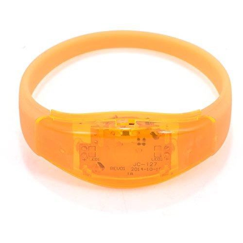 GLOGLOW Leucht Armbänder, Flash LED Licht Armreif Party Konzert, Blinkend Armreif Blinkleucht Armbänder für Party Disco Halloween Weihnachten (Orange)
