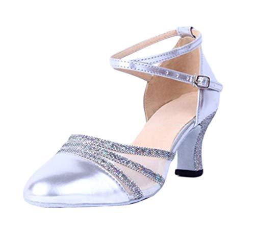 CHENYANG Runde Zehen Hoch Absatz Schnalle Pumps Glitter Party Tanzschuhe Damen Brautschuhe Silber 39