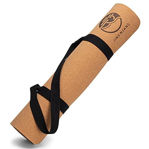 JING·N·JANG Yogamatte Kork · Kork Yogamatte rutschfest mit Yoga Gurt · 183*66*0,5cm · nachhaltige & schadstofffreie Fitnessmatte für Yoga & Pilates