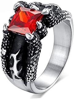 التنين كلو الرجال الدائري الحجر خمر الأحمر الدائري مفرطه مجوهرات الدائري مجموعة