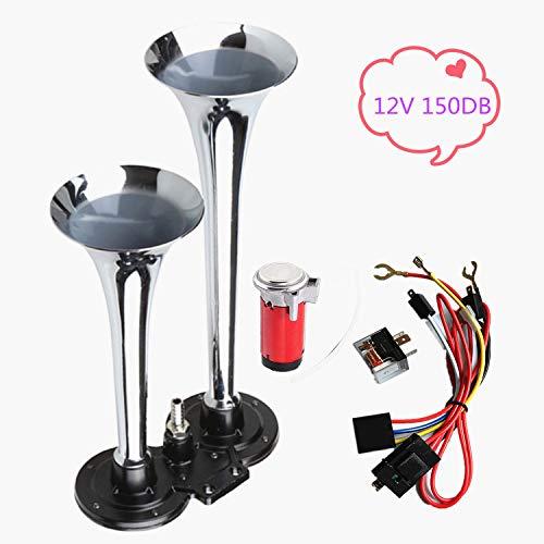 YIYDA Air Horn Bocina de coche Bocina de aire, ruidosa, doble tubo cromado, altavoz de 150DB sin óxido Adecuado para cualquier de 12V automóvil, camión, barco, etc.